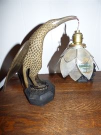 """You probably won't see many more of THIS lamp anywhere !  The wings are horn, body is wooden, with handpainted capiz shell shade.  Marked """"Made In Manila"""" P. I."""