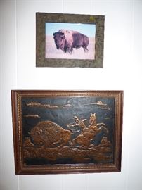 Newer hammered copper buffalo & Indian picture