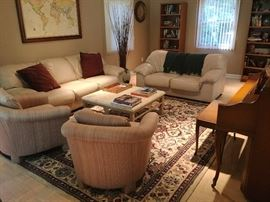 Leather sofa & loveseat & pair club chairs