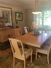 Light wood dining room table, chairs & buffet