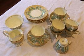 English Art Nouveau tea cups and saucers, with sugar and creamer