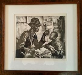 """INSTRUCTION"" Lithograph, by Thomas Hart Benton (American, 1889-1975)"