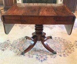Early 20th C. Classic Style Handsome Rosewood DropLeaf Table