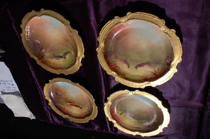 artist signed Limoges fish plates