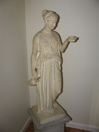 Great large 4' high sculpture on stand marble composite