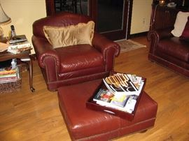 Great leather chair and ottoman