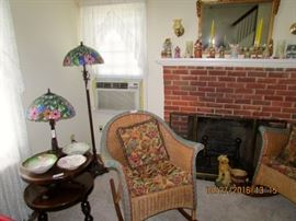 Leaded glass lamps, pair of wicker rockers lots of china and smalls