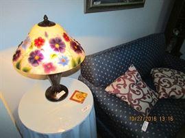 Pansies printed glass lamp