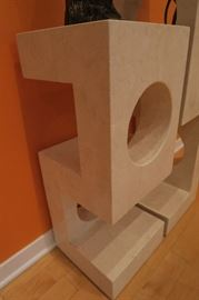 Travertine Stone Pedestals.  Tall: 12'' x 12'' x 42'' High, Short: 12'' x 12'' x 30'' High