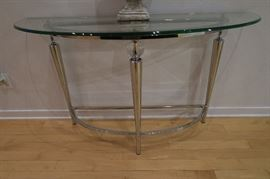 Demi Loon Table with Chrome Base and Glass and lucite/acrylic accent spheres.  Top 52'' Wide x 18'' Depth x 30 1/2'' Height