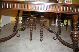 Legs and support of antique dining room table