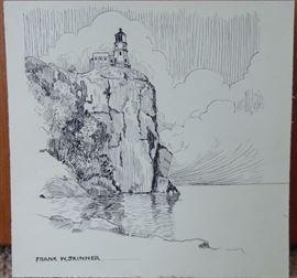 F Skinner pen & ink - Split Rock Lighthouse