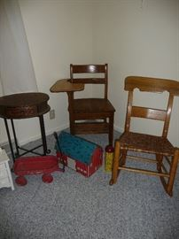 many assorted chairs / Metal toys