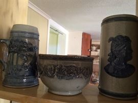 Old Sleepy Eye stein, bowl, and vase.