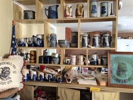 Old Sleep Eye collection of pitchers, steins, and vases. Also memorabilia and collectibles from Sleepy Eye conventions.