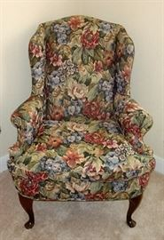FLORAL WING BACK CHAIR - WE HAVE THE PAIR !