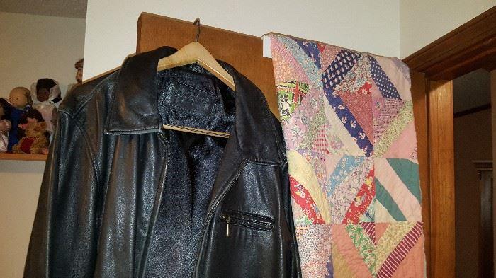 Leather coat & vintage quilt