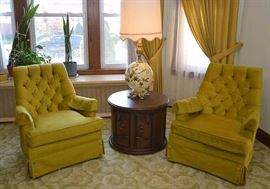 Pair of Vintage Tufted Gold Upholstered Armchairs