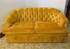 Vintage Gold Velvet Tufted Loveseat