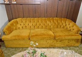 Vintage Gold Velvet Tufted Sofa