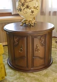 Vintage Round Accent Table / Cabinet