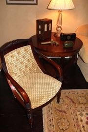 Side Chair, Round End Table, Rug, Lamp & Decorative