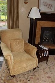 Upholstered Chair, Floor Lamp, Magazine Rack  & Rug