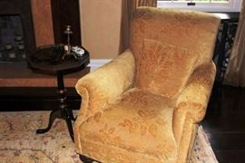Upholstered Chair & Small Round Pedestal