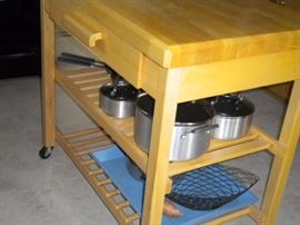 Butcher's block on casters with drawer