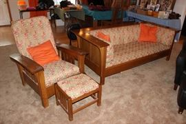 Signed Stickley bow arm chair and ottoman and Prairie Panel couch