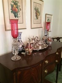 Gorgeous sideboard; cranberry lusters