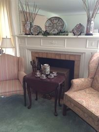 More Famille Rose selections; fireside chairs; small drop leaf table