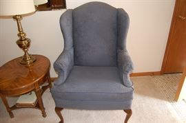 Wing back chair and side stand
