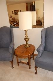 Vintage beveled mirror and matching chairs