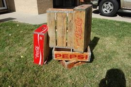 Vintage Coke and Pepsi bottle crates