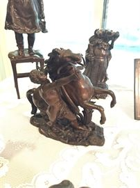 bronze nude male and horse