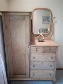 Oak chifforobe with mirror