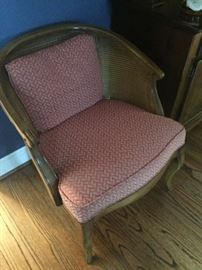 Occasional chair with cane bucket back