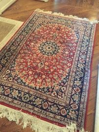 Handmade Oriental Wool Area Rug - wool with silk