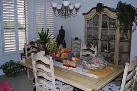 DINING SET WITH TABLE, 6 CHAIRS, COORDINATING CHINA CABINET, DECOR
