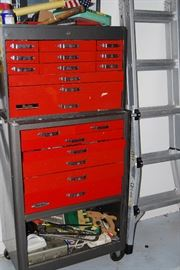 LADDER, TOOL CHESTS, TOOLS