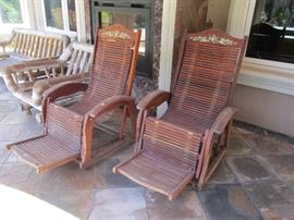Inlaid patio chaise gliders, made in Vietnam