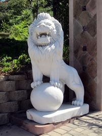 Pair of majestic palace guard lions!! 4' x 2' by over 6' tall. These are carved stone, not concrete or resin. Estimated cost of moving will be available at the sale.