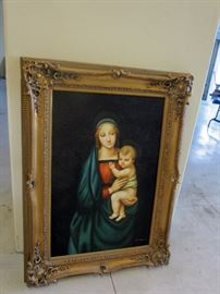 Madonna and child oil painting