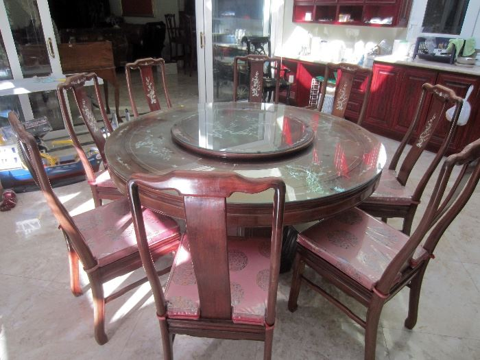 Very nice rosewood and inlay table with matching lazy susan.
