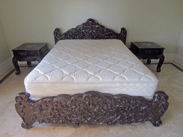 Ornate carved rosewood queen size bed