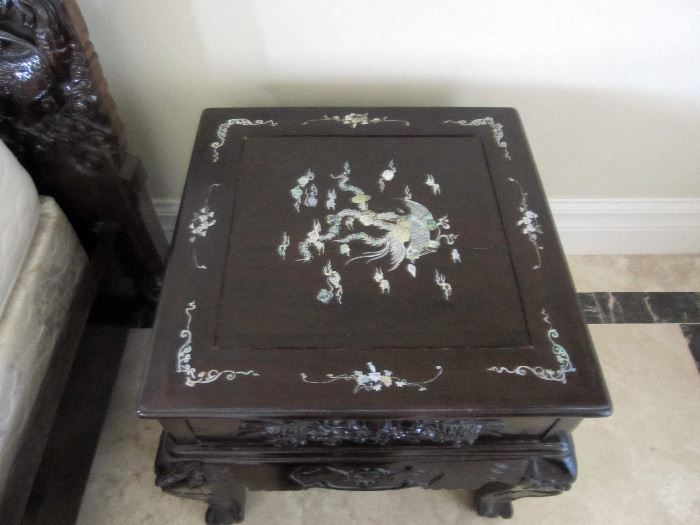 Carved rosewood with inlay side tables