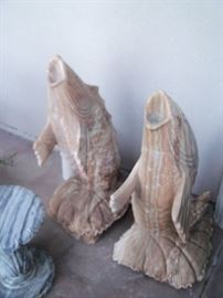 Solid stone fishes 3' tall