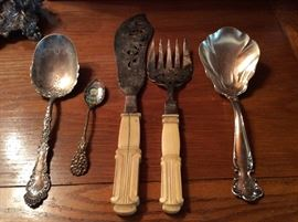 Sterling and bone serving pieces