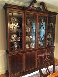 Council Craftsman Hutch. Banded wood matches the dining table. Stunning set. Excludes china